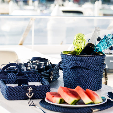 Nautical Rope Napkin Holder-Blue