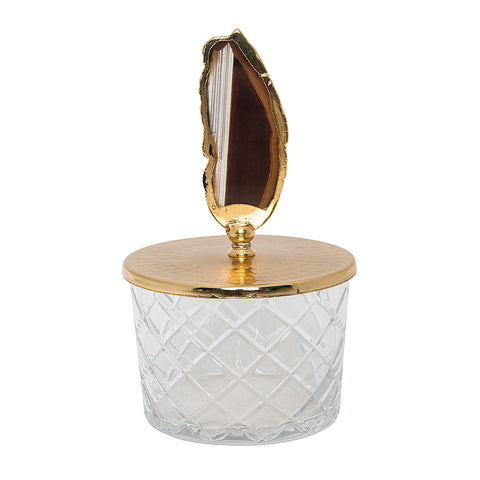 Luxurious Glass Canister with Gold Lid Natural Stone-Small