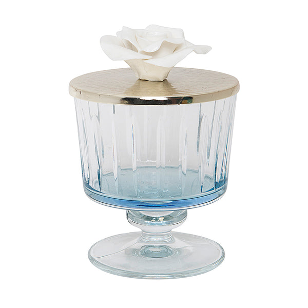 Luxurious Glass Canister with Silver and Rose Lid - Blue