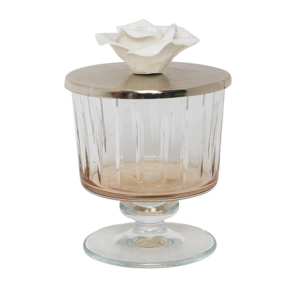 Luxurious Glass Canister with Silver and Rose Lid - Amber