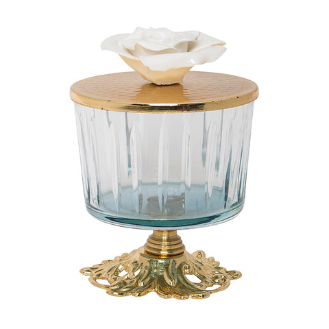 Luxurious Glass Canister with Rose Top and Golden Stand - Blue