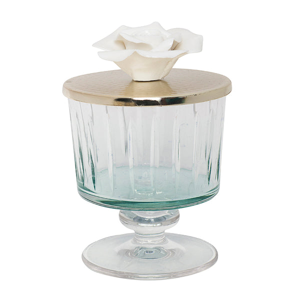 Luxurious Glass Canister with Silver and Rose Lid - Green