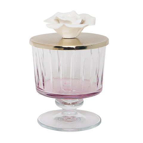 Luxurious Glass Canister with Silver and Rose Lid - Pink