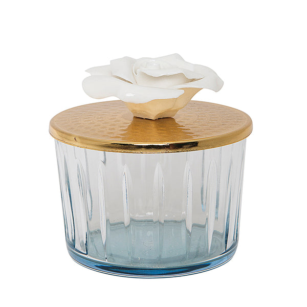 Blue Glass Canister with Golden Rose Lid