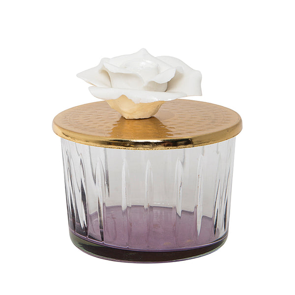 Purple Glass Canister with Golden Rose Lid