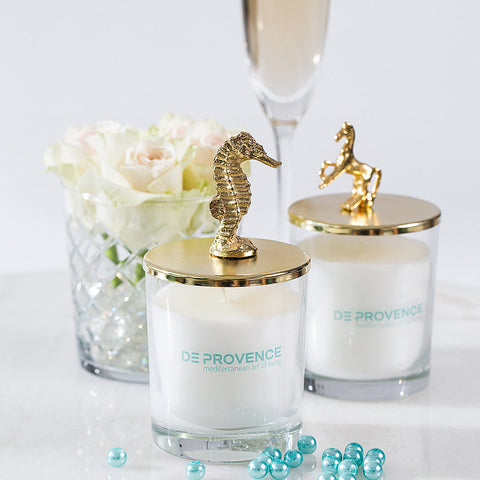 Golden Seahorse Vanilla Scented Glass Candle
