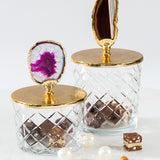 Luxurious Glass Canister with Gold Lid Natural Stone-Big