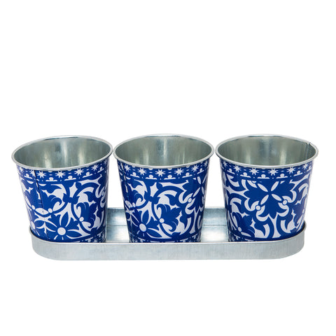 Azure Flower Pot Set