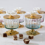 Luxurious Glass Canister with Rose Top and Golden Stand - Green