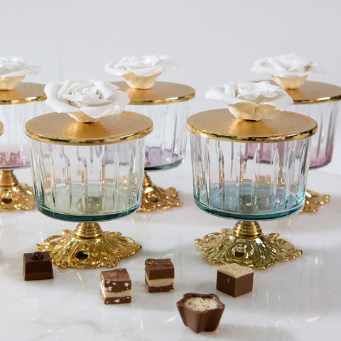 Luxurious Glass Canister with Rose Top and Golden Stand - Purple