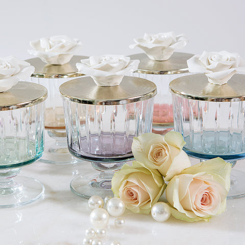 Luxurious Glass Canister with Silver and Rose Lid - Purple