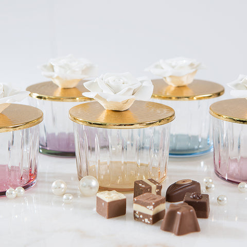 Pink Glass Canister with Golden Rose Lid