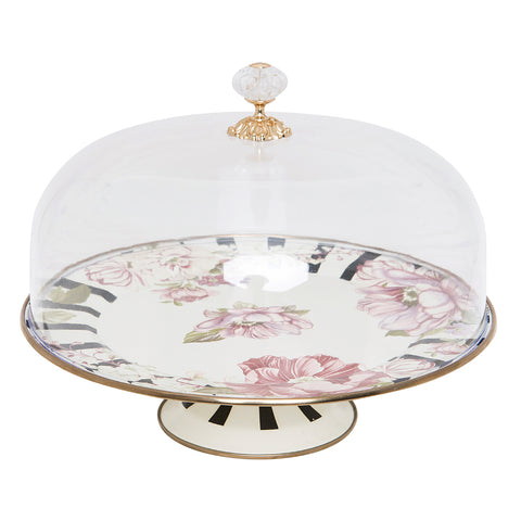 Floral Checkered Cake Stand