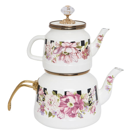 Floral Checkered Tea Pot Enamel