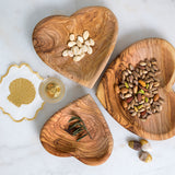 Olive Wood Heart Plate Large