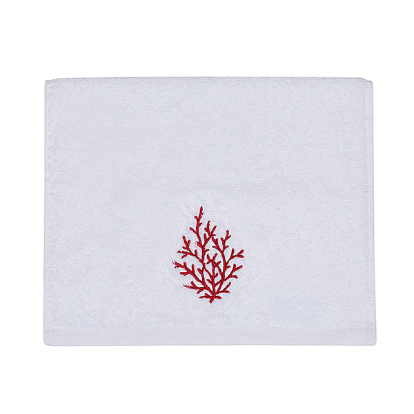 Embroidery Towel Red Coral