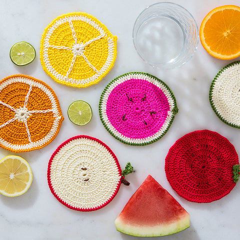 multicolored fruit coasters