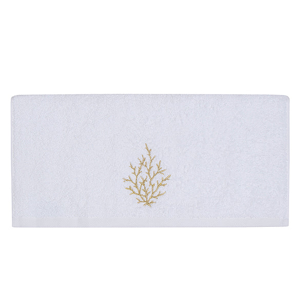 Embroidery Bath Towel Gold Coral