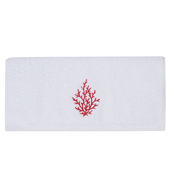 Embroidery Bath Towel Red Coral