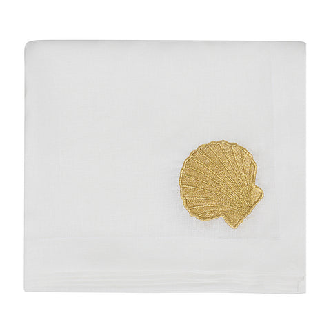 Golden Shell Linen Table Cloth