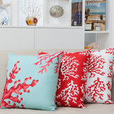 Glowing Coral Cushion Blue and Red