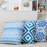 Sapphire Cushion Blue and White