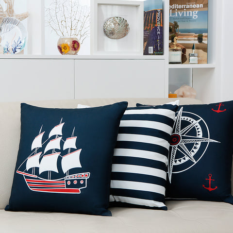 Naval Cushion  Blue and White