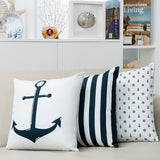 Nautical cushion blue white