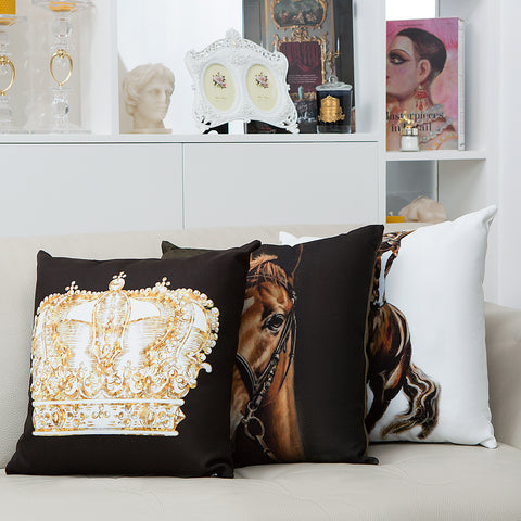 Royal Horse Cushion Black and Brown