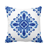 Fine Indigo Cushion White Blue