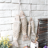 Rustic Hand Carved Fish Set