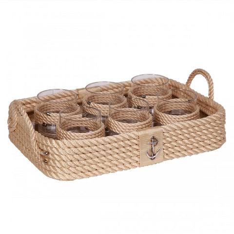 Nautical Rope Tray Set-Cream