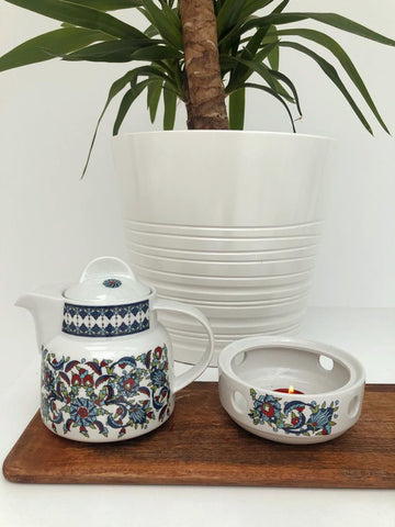 Navy Teapot & Warmer