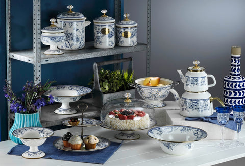 An Eid exclusive set of Azure Vintage Collection. Includes Azure Vintage Cake Stand, Canister, the Magnificient Tea Pot, Big and Medium Jar. Perfect gift for Eid or an awe-inspiring decorative collection for your Eid get-togethers. This timeless and durable enamel set is ideal for serving delicious cakes, cookies, salads, and snacks.