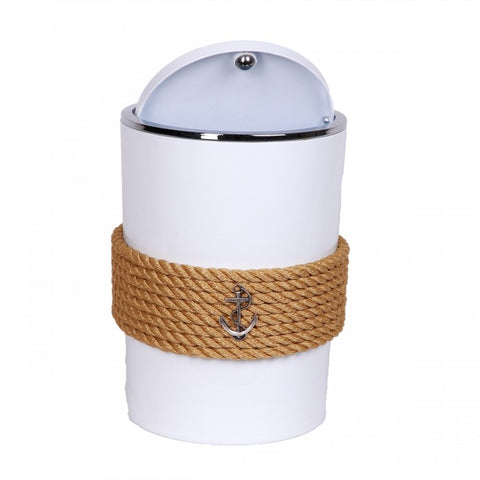 Nautical Rope Waste Bin-White Beige