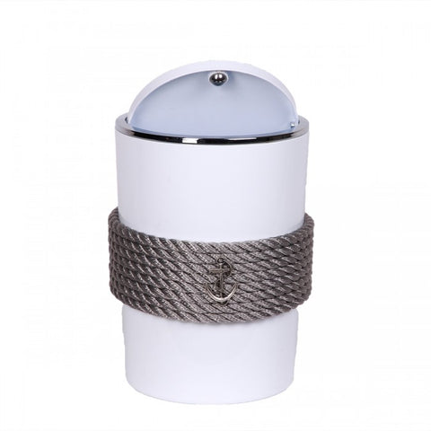 Nautical Rope Waste Bin-White Silver
