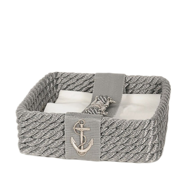 Nautical Rope Napkin Holder-Silver