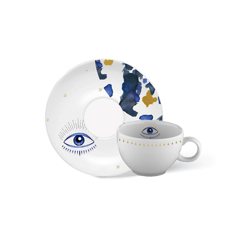 Blue Eye Coffee Cup-24k Gold