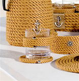 Nautical Rope Tray and Glass Set-Beige