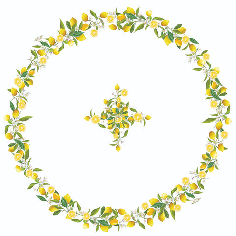 Lemon Flower Round Table Cloth