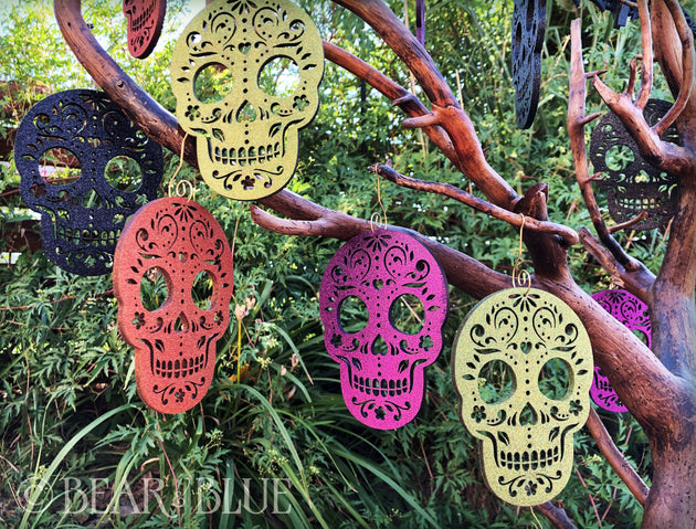 Sugar Skull Glitter Ornaments (Set of Six)