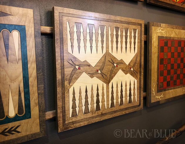 Backgammon Board  Stained and Hand-pieced of Birch Inlay, Swallows & Trees Design