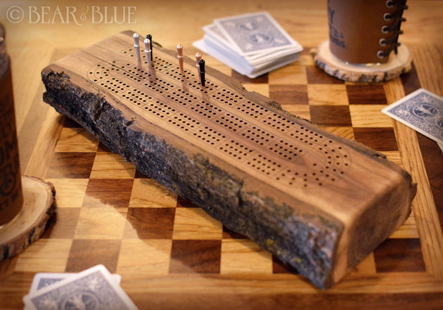 Cribbage Game Made of Solid Walnut Branch with Metal Game Pieces