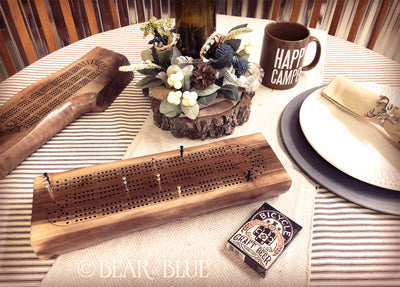 Cribbage Game Made of Solid Walnut Branch with Premium Metal Game Pieces