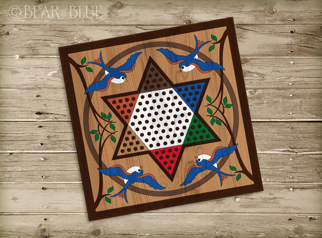 Wood Chinese Checkers Game Board (Bluebirds Design)