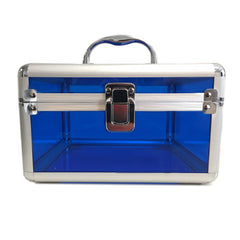 Blue, Rounded, Transparent Acrylic Travel Carrying Case - 22cm x 22cm x 13cm