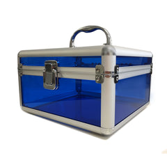 Blue, Rounded, Transparent Acrylic Travel Carrying Case - 22cm x 22cm x 13cm - Side View