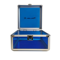 Blue, Rounded, Transparent Acrylic Travel Carrying Case - 22cm x 22cm x 13cm - Open