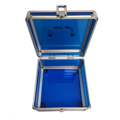 Blue, Rounded, Transparent Acrylic Travel Carrying Case - 22cm x 22cm x 13cm - Open Top View