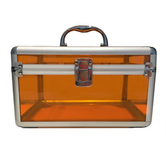 Orange, Rounded, Transparent Acrylic Travel Carrying Case - 26cm * 17cm * 15cm